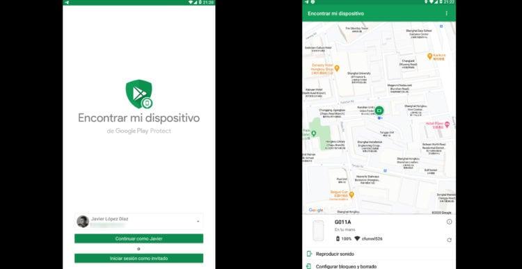 "aplicación ""encontrar mi dispositivo"" de Google"