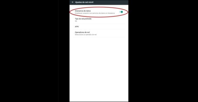 activar roaming en Android
