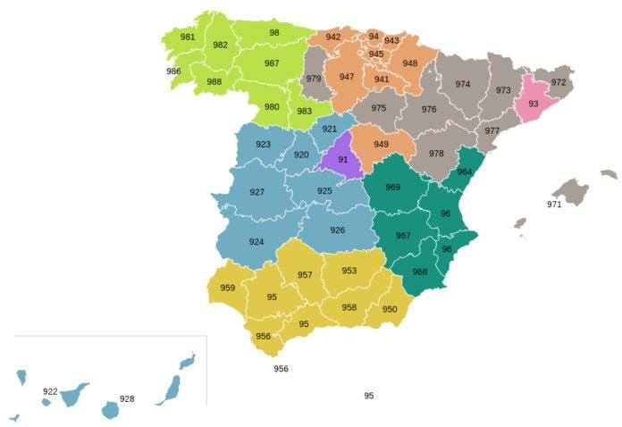 prefijos de España