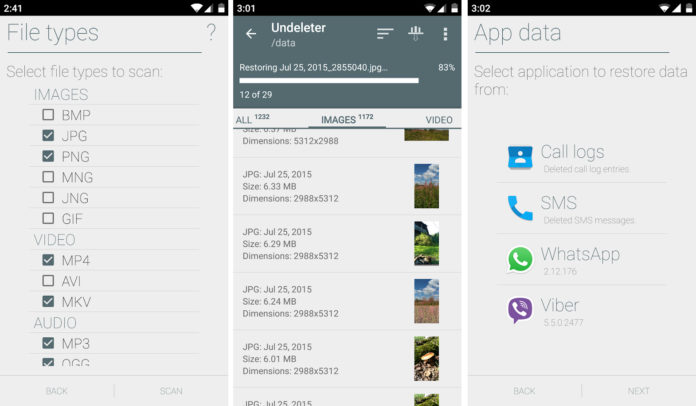 recuperar datos borrados de Android con undeleter