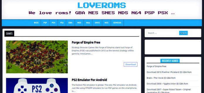 sitio web loveroms